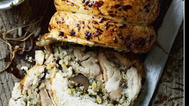 Pollo con ajo y castañas