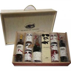 Maleta de madera botellas y viandas